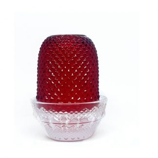 Red Glass Pyramid Candle Holder