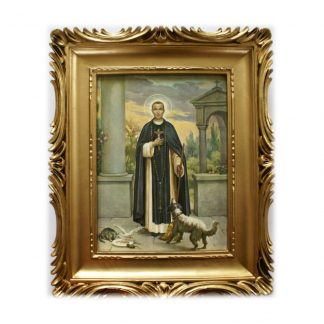 St Martin Picture with decorative gold coloured plastic frame.