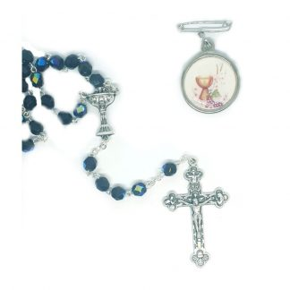 BLACK GLASS ROSARY & MIRACULOUS MEDAL (CHALICE)
