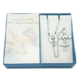 Glass First Holy Communion Rosary in Box
