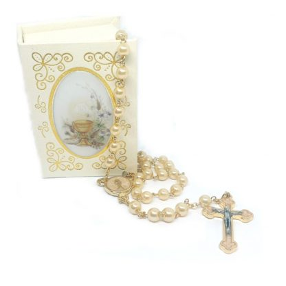 Pearl Holy Communion Rosary with box