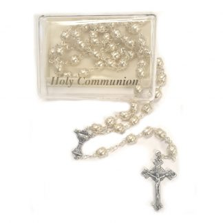 White Pearl Holy Communion Rosary (1)