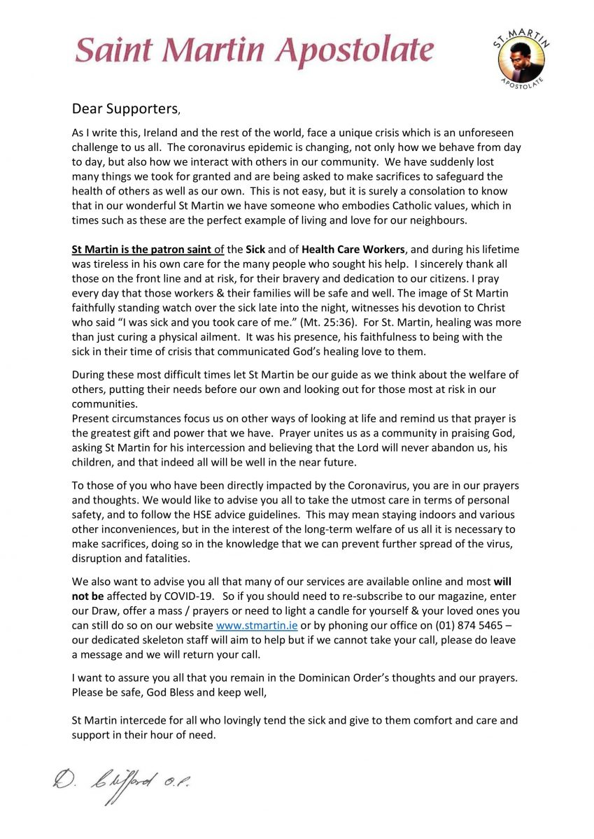 Open letter to Our Supporters during Covid-19 Pandemic