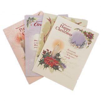 Traditional Christmas Candle Christmas Cards - 12 in a pack with envelopes. 4 Different Designs