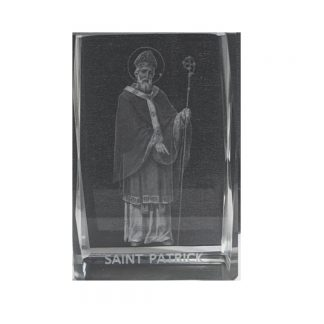 St Patrick Laser Etched Glass Block, comes with Gift Box. €10.00 including postage.