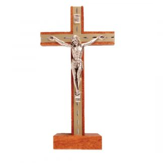 """Beautiful Light Mahogany Standing Crucifix. Price: €16 and includes P&P. Approx 6.5"""" tall Browse our range of Crucifixes in our online shop."""