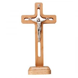 """Unusual Standing Crucifix design. Made from Beech Wood and stands at approx. 6.5"""" high. Price includes P&P"""